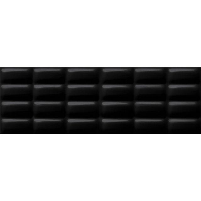Płytka ścienna PRET A PORTER czarna struktura pillow błyszcząca 25x75 gat. I