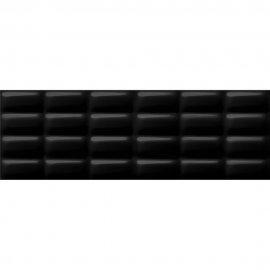 Płytka ścienna PRET A PORTER czarna struktura błyszcząca pillow 25x75 gat. I