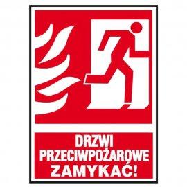 """Znak """"Drzwi przeciwpożarowe ZAMYKAĆ!"""" Z-30P-FS rozm. 150x205 ANRO"""