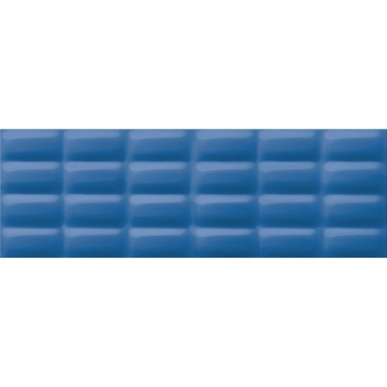 Płytka ścienna VIVID COLOURS niebieska struktura pillow błyszcząca 25x75 gat. I