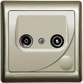 Gniazdo ścienne EFEKT METALIC RTV końcowe GAR 2,5-3 dB satyna Ospel