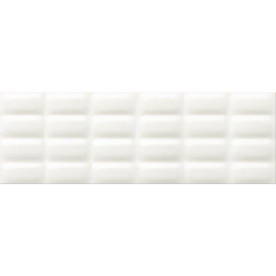 Płytka ścienna WHITE MAGIC biała struktura pillow błyszcząca 25x75 gat. I