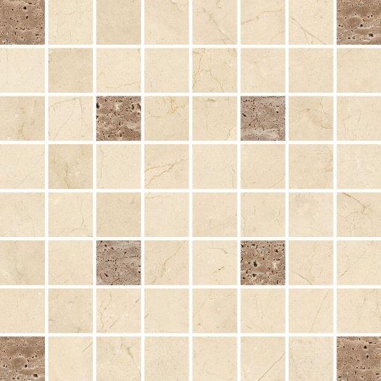 Gres zdobiony LIGHT MARBLE beżowy mozaika kwadraty poler 29x29 gat. I