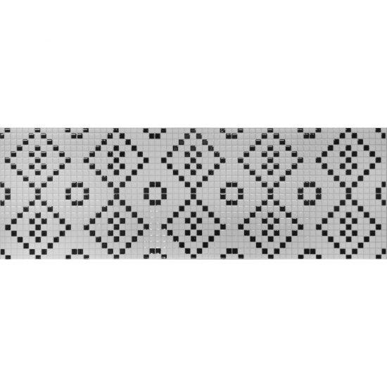 Płytka ścienna PRET A PORTER biało-czarna mozaika błyszcząca 25x75 gat. I
