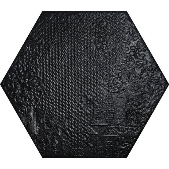Gres hiszpański heksagonalny HARCERZ 3D czarny 25