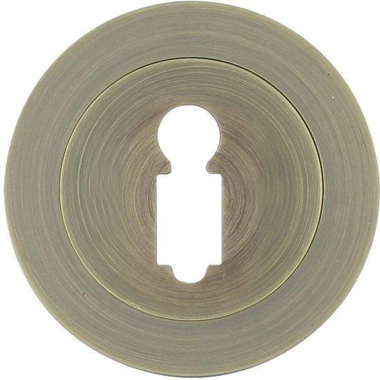 Szyld drzwiowy okrągły 950 klucz brąz mat Domino
