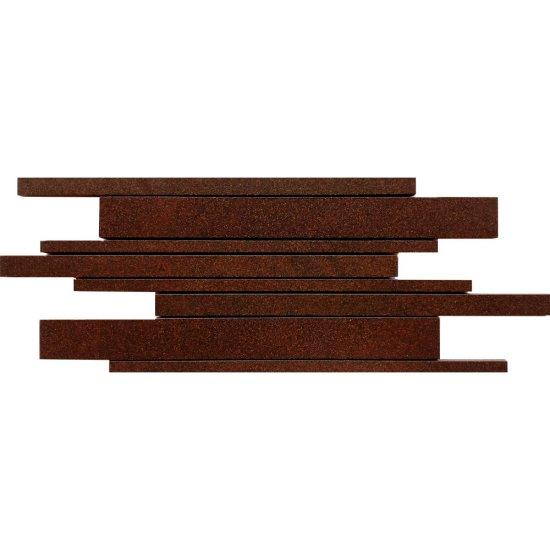 Gres zdobiony KANDO brązowy mozaika paski mat 14,7x41 gat. I