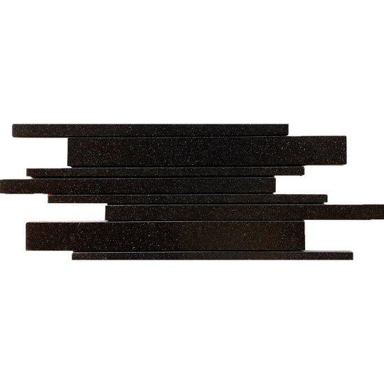 Gres zdobiony KANDO antracytowy mozaika paski mat 14,7x41 gat. I