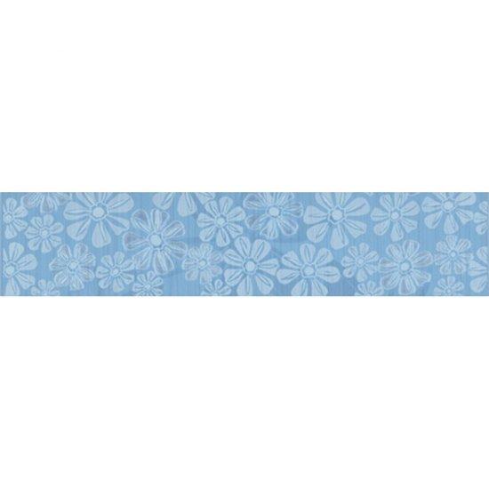 Płytka ścienna EUFORIA niebieska listwa kwiatek 2 błyszcząca 8,5x40 gat. I