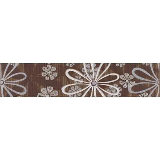 Płytka ścienna EUFORIA brązowa listwa kwiatek błyszcząca 8,5x40 gat. I