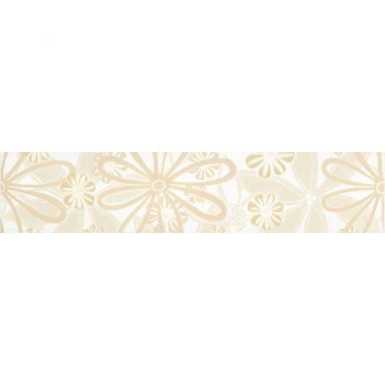 Płytka ścienna EUFORIA biała listwa kwiaty mat 8,5x40 gat. I