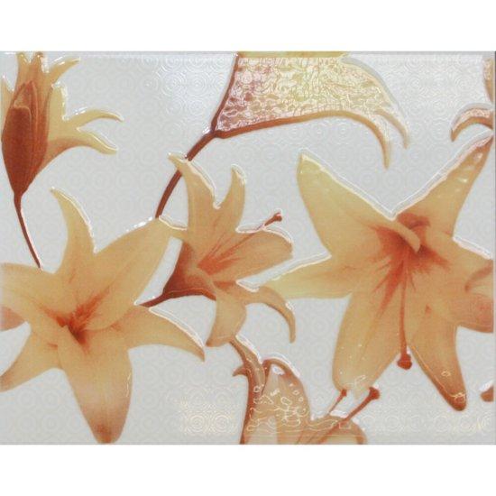 Płytka ścienna TANIA pomarańczowa inserto kwiaty błyszcząca 20x25 gat. I