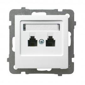 Gniazdo modułowe AS telefoniczne podwójne niezależne biały Ospel