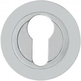 Szyld drzwiowy okrągły 980 wkładka bębenkowa chrom satyna Domino