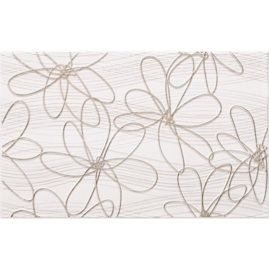 Płytka ścienna FELINA biała inserto kwiatek 25x40 gat. I
