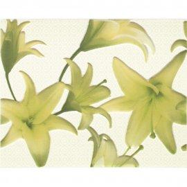 Płytka ścienna TANIA zielona inserto kwiaty błyszcząca 20x25 gat. I