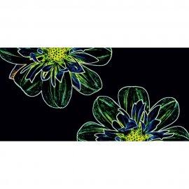 Płytka ścienna FLUORESCENT FLOWER czarna inserto kwiaty błyszcząca 29,7x60 gat. I