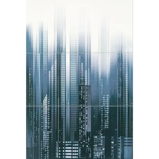Płytka ścienna SKY TOWER ciemnoniebieska kompozycja błyszcząca 60x89,1 gat. I