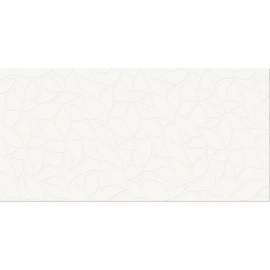 Płytka ścienna TUKA biała liście błyszcząca 29,7x60 gat. I