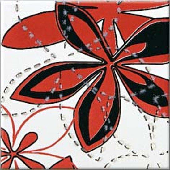 Płytka ścienna APLAUZ czerwona inserto kwiaty błyszcząca 10x10 gat. I