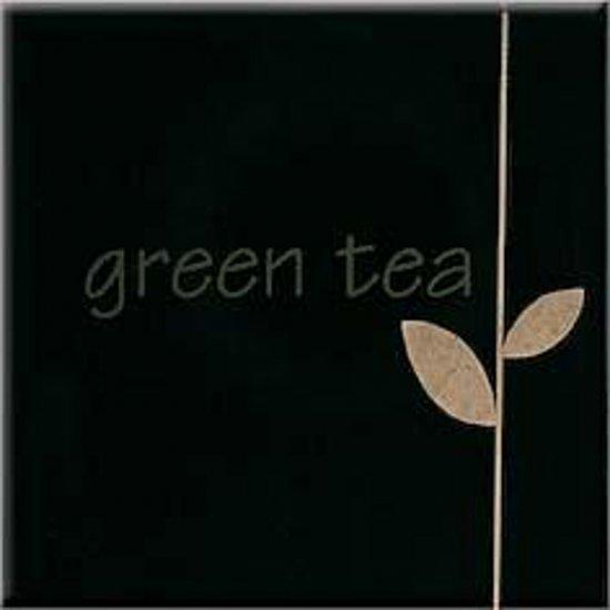 Płytka ścienna APLAUZ czarna inserto green tea błyszcząca 10x10 gat. I