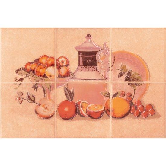 Płytka ścienna SAGRA pomarańczowa kompozycja owoce 1 mat 20x30 gat. I