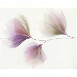 Płytka ścienna LORIS biała inserto kwiaty błyszcząca 40x50 gat. I