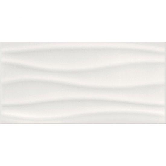 Płytka ścienna BASIC PALETTE biała fale struktura błyszcząca 29,7x60 gat. II