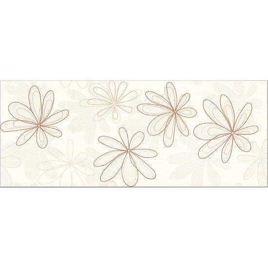 Płytka ścienna CAPRI kremowa inserto kwiaty brąz błyszcząca 20x50 gat. I