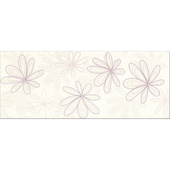 Płytka ścienna CAPRI fioletowa inserto kwiaty błyszcząca 20x50 gat. I