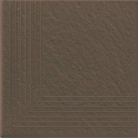 Klinkier SIMPLE BROWN brązowy stopnica narożna struktura mat 30x30 gat. I