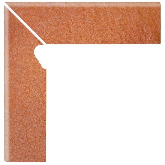 Klinkier SOLAR pomarańczowy cokół schodowy lewy 3-D mat 8x30 gat. I