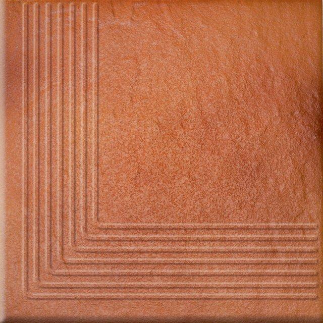 Klinkier SOLAR pomarańczowy stopnica narożna struktura połysk 30x30 gat. I*
