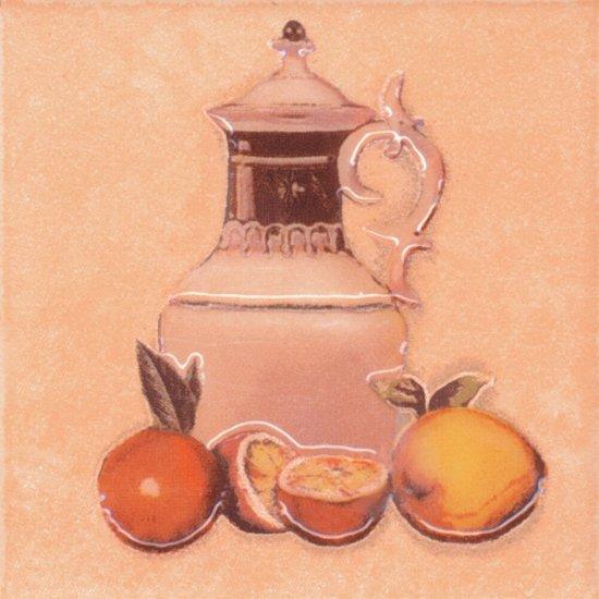 Płytka ścienna SAGRA pomarańczowa motyw owoce 1 mat 10x10 gat. I