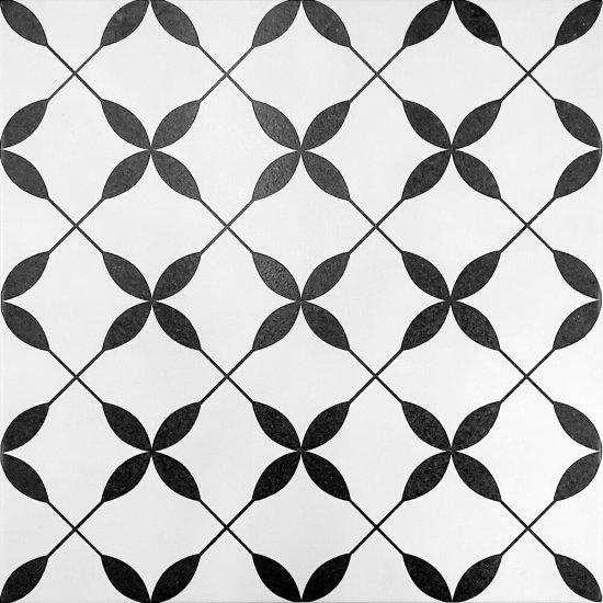 Gres szkliwiony PATCHWORK CONCEPT biało-czarny clover pattern mat 29,8x29,8 gat. II#