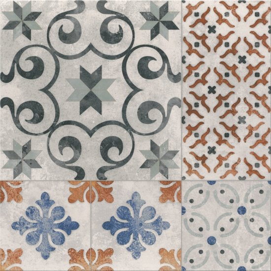 Gres szkliwiony PATCHWORK multikolor ONE satyna 42x42 gat. II
