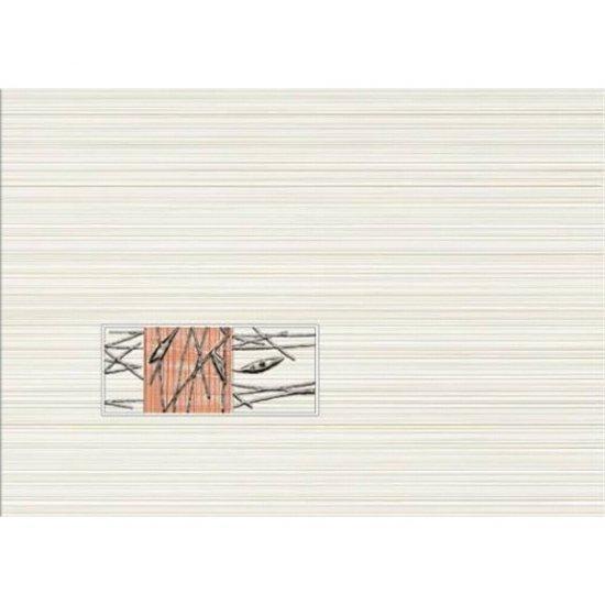 Płytka ścienna ORGANIC kremowa inserto pomarańczowe classic mat 25x35 gat. I
