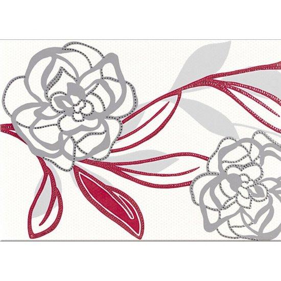Płytka ścienna DARIA biała inserto kwiaty B błyszcząca 25x35 gat. I