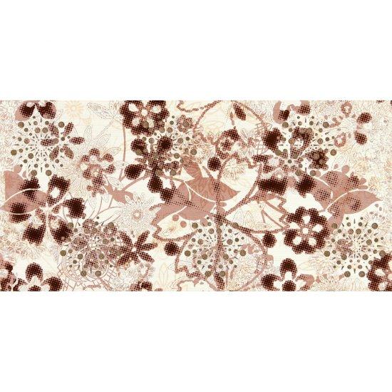 Płytka ścienna LINERO brązowa inserto kwiaty błyszcząca 29x59,3 gat. I