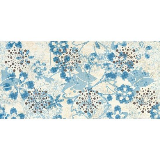Płytka ścienna LINERO niebieska inserto kwiaty błyszcząca 29x59,3 gat. I