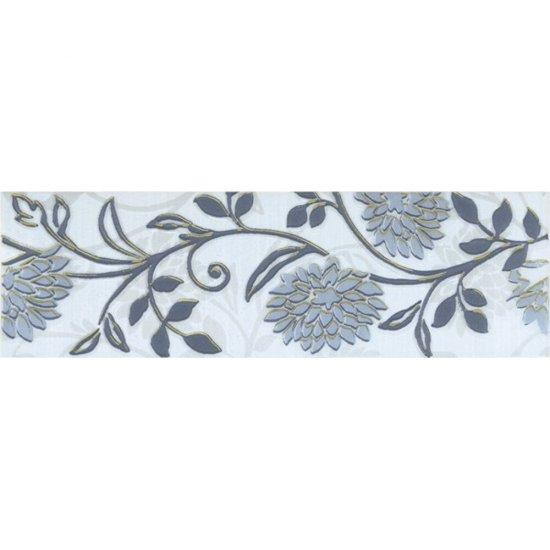 Płytka ścienna FARINA jasna niebieska listwa kwiatek błyszcząca 6x20 gat. I