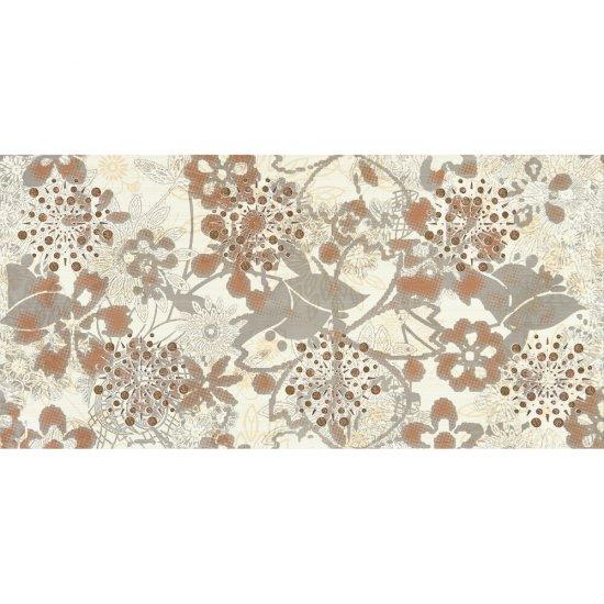 Płytka ścienna LINERO szara inserto kwiaty błyszcząca 29x59,3 gat. I
