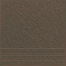 Klinkier SIMPLE BROWN brązowy stopnica 3-D mat 30x30 gat. II