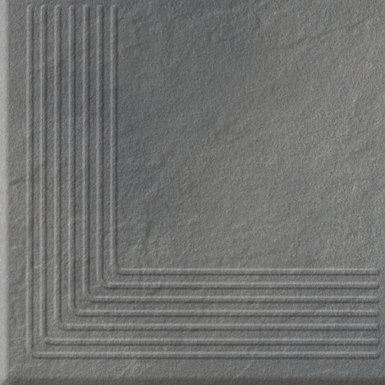 Klinkier SOLAR szary stopnica narożna 3-D mat 30x30 gat. II