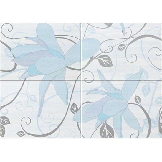 Płytka ścienna ARTIGA jasnoniebieska kompozycja kwiaty błyszcząca 50x70 gat. I