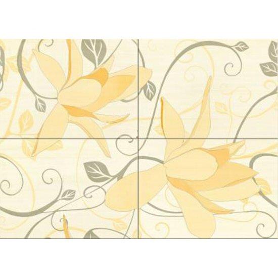 Płytka ścienna ARTIGA żółta kompozycja kwiaty błyszcząca 50x70 gat. I