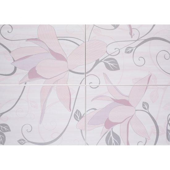 Płytka ścienna ARTIGA fioletowa kompozycja kwiaty błyszcząca 50x70 gat. I