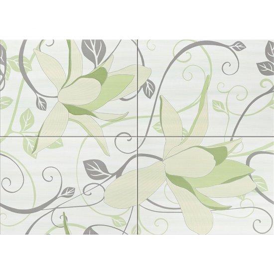 Płytka ścienna ARTIGA seledynowa kompozycja kwiaty błyszcząca 50x70 gat. I