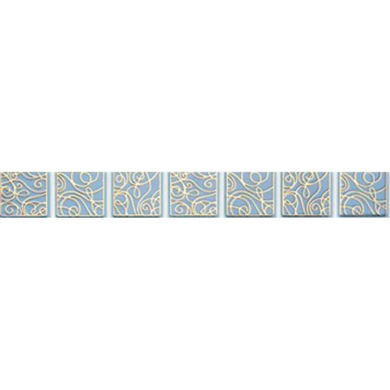 Płytka ścienna ELISA niebieska listwa geo błyszcząca 3x25 gat. I