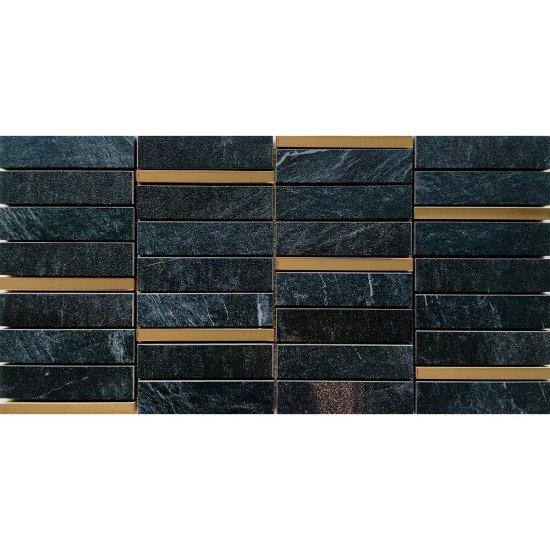 Gres szkliwiony YAKARA grafitowy mozaika prostokąty steel mat 22,2x44,6 gat. I
